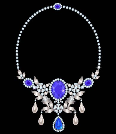 necklace with amethysts and diamonds and pearl suspension