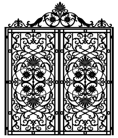 forged: Black metal gate with forged ornaments on a white background