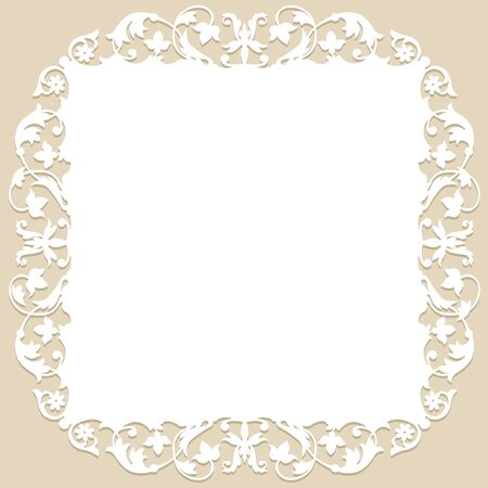 corte por láser: white frame with floral pattern on a beige background. laser cutting template Vectores