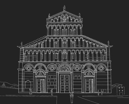 Sketch of Pisa Cathedral Illustration