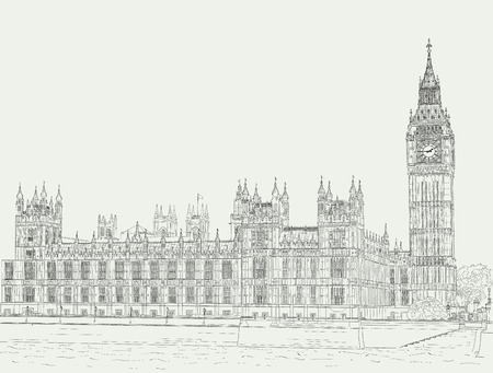 Sketch the palace of Westminster Illustration
