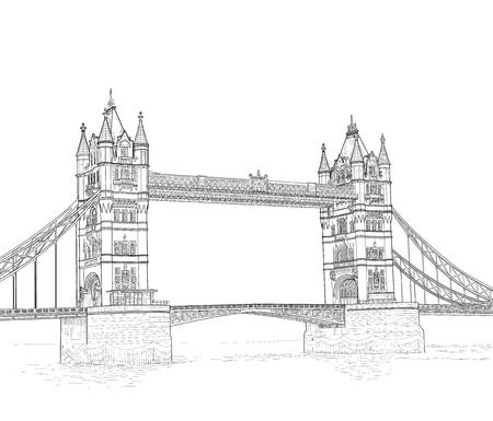 drawbridge: sketch of the Tower Bridge in London, England. vector illustration
