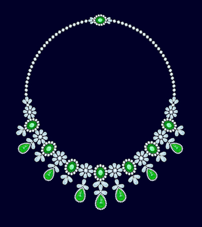 diamond necklace: Diamond necklace with emeralds