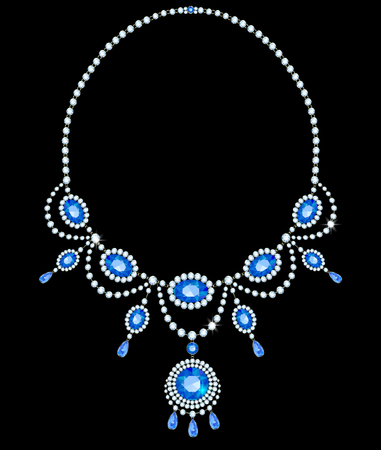 sapphires: Diamond necklace with sapphires