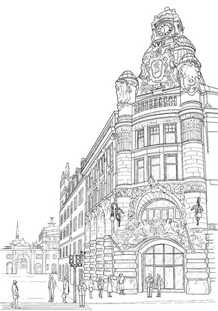 Sketch of the street of Ctockholm
