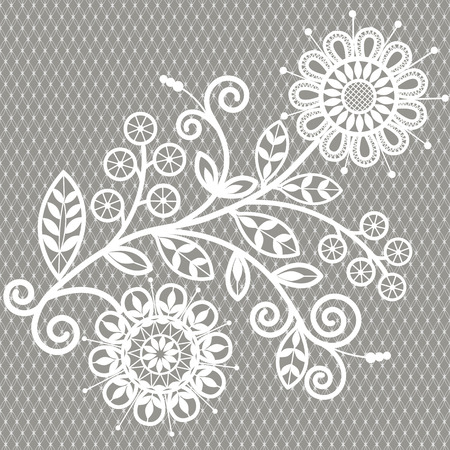 A white lace background.