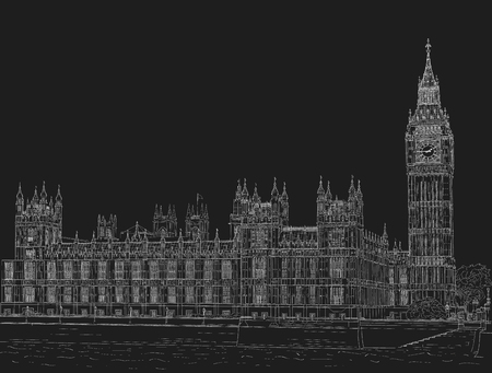 Sketch the palace of Westminster Иллюстрация