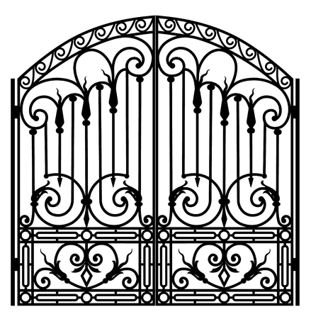 Forged iron gate illustration.