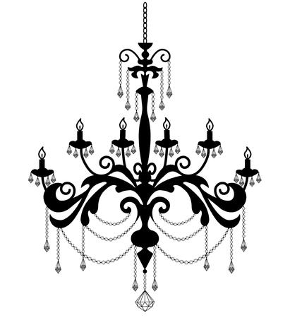 シャンデリアのシルエットが白で隔離。図  イラスト・ベクター素材
