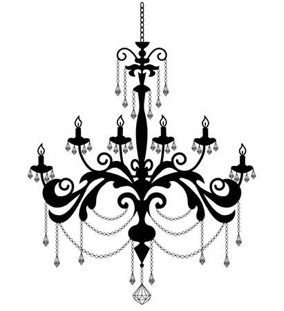 Chandelier silhouette isolated on white . illustration