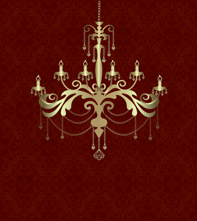 Golden silhouette of a chandelier on a red background