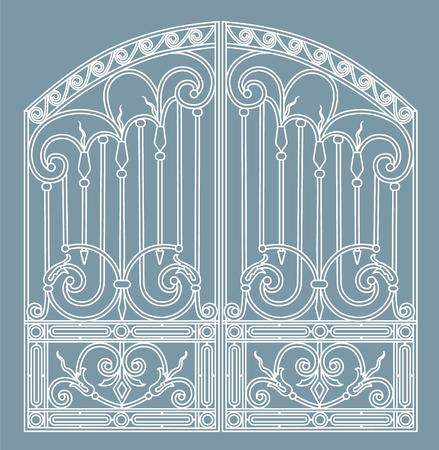 Forged iron gate vector illustration. Illustration