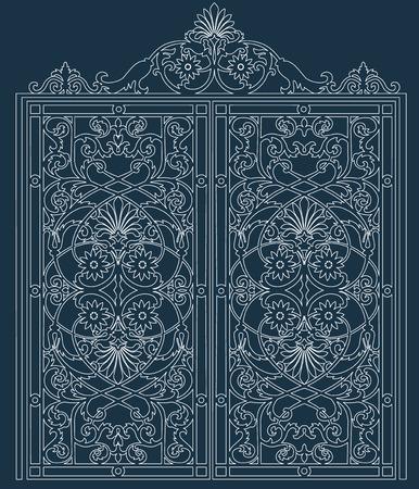 暗い背景に対して鍛造飾りホワイト メタル ゲート