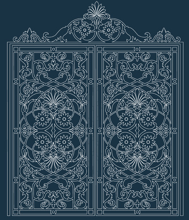 white metal gate with forged ornaments against a dark background Ilustracja