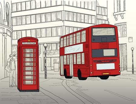 Illustrazione di Londra Street con autobus a due piani e cabina telefonica Archivio Fotografico - 86140338