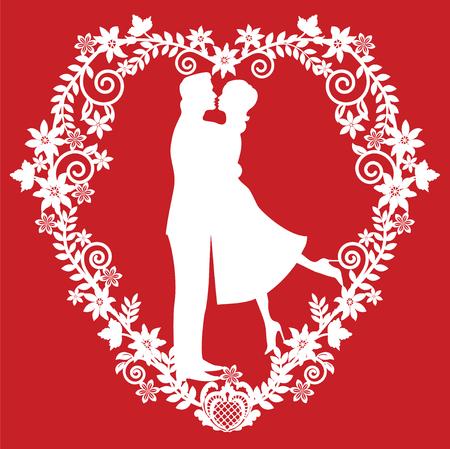 フレームの愛情のあるカップルのシルエットです。ダイカット用カード