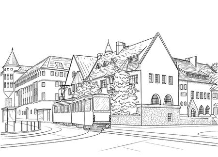 Sketch of a street with a tram in Helsinki. Finland Illustration
