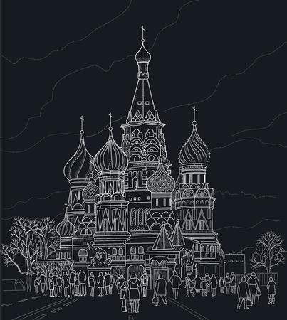 모스크바 대성당의 드로잉입니다. 검정색 바탕에 흰색