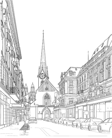 Drawing of a city street. Zurich Switzerland