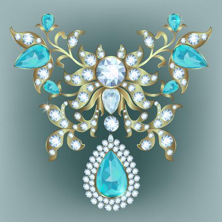 Broche avec des diamants, illustration vectorielle Banque d'images - 89144214