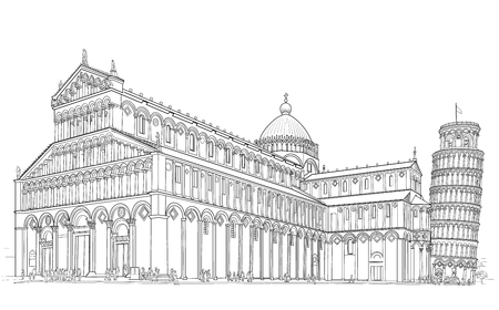 Sketch of the Cathedral of the Duomo and the Leaning Tower in Pisa.