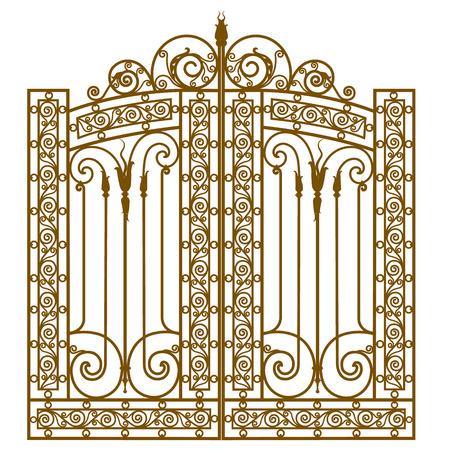 白い背景に鍛造飾り金属ゲート  イラスト・ベクター素材