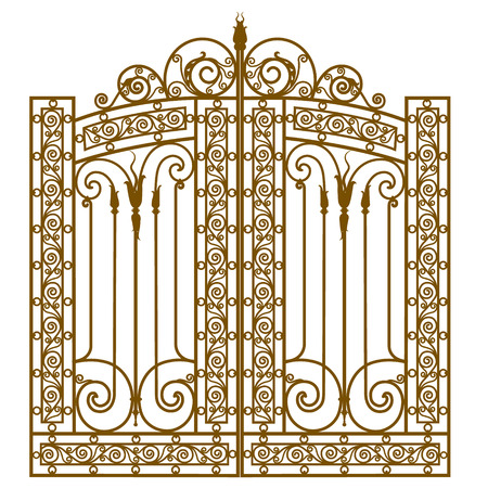 Metal gate with forged ornaments on a white background