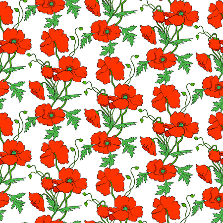 seamless pattern with red poppies on a white background Vettoriali