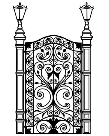 black metal door with tracery ornaments and lanterns