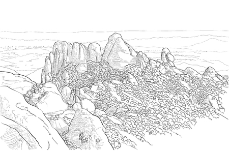 Vector drawing of Montserrat mountains on a white background. Spain