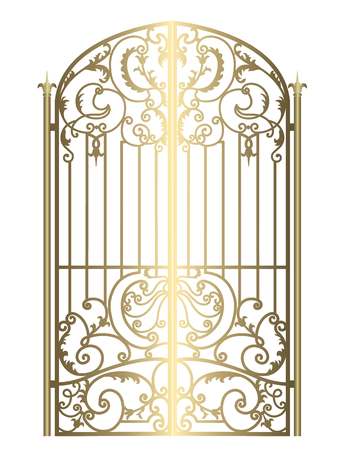 metal gate with forged ornaments on a white background illustration.