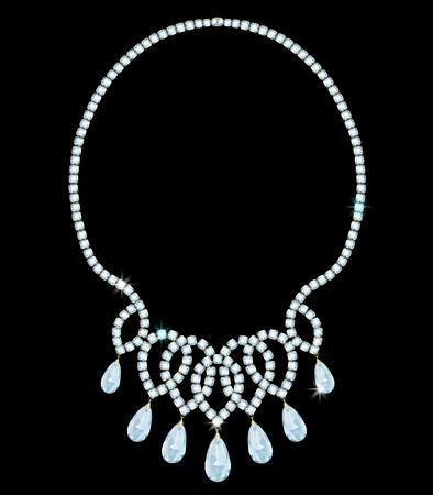 exquisite diamond necklace with pendant diamonds of drop-shaped shape Illusztráció