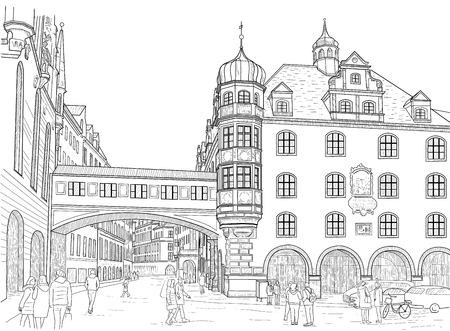 sketch streets in the city of Munich. Germany