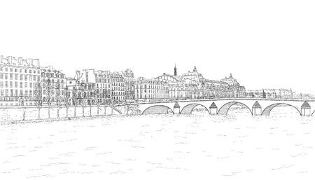 sketch of Seine embankment  イラスト・ベクター素材