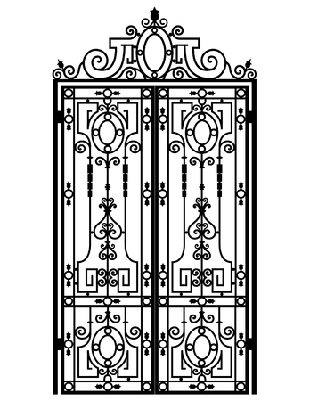 Black metal gate with forged ornaments on a white background. Иллюстрация