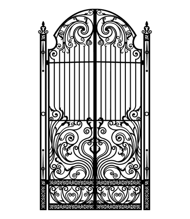 Black metal gate with forged ornaments on a white background. Stock Illustratie