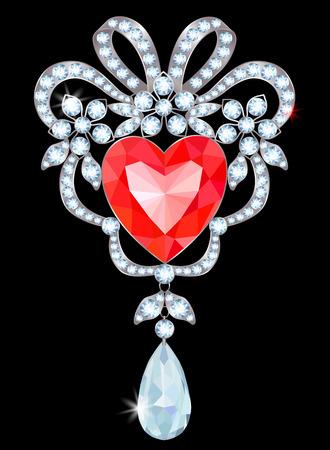 Zilveren broche met diamanten en hartvormige robijnrode illustratie.