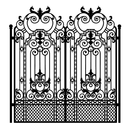 Black metal gate with forged ornaments on a white background. 矢量图像