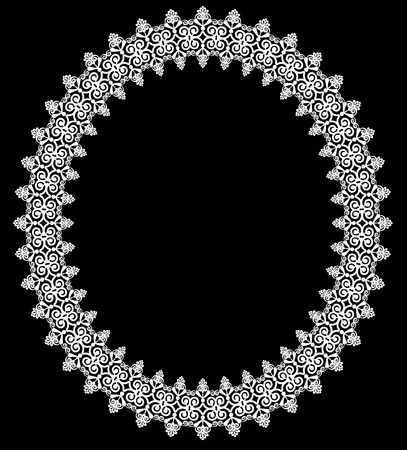 Vintage white oval frame on a black background illustration.