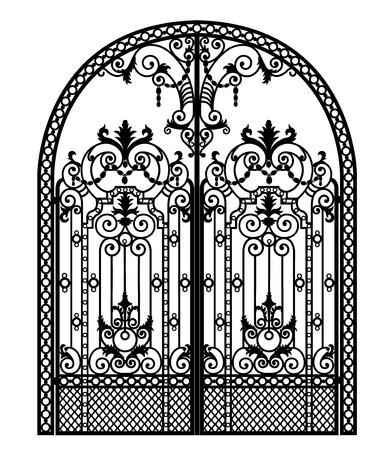 arched metal gate with forged ornaments on a white background Stock Photo
