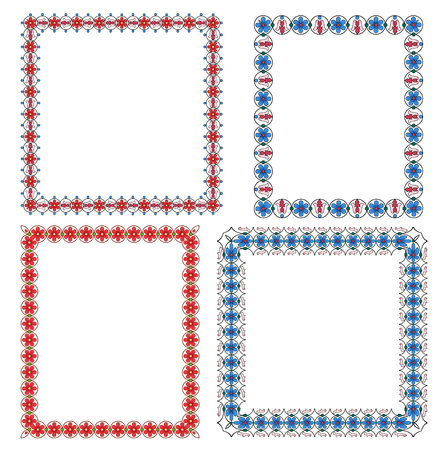 set of multi-colored frames from decorative flowers