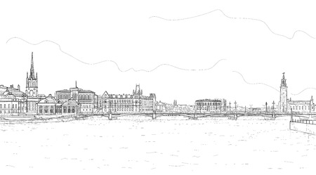 Sketch of the panorama of the Swedish city of Stockholm Standard-Bild - 115166219