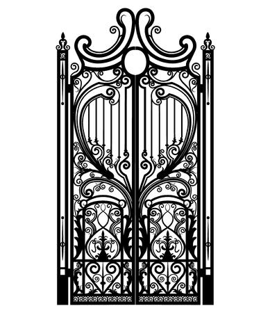 Gesmeed ijzeren hek geïsoleerd op een witte achtergrond Vector Illustratie