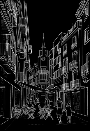 A sketch of a street in Sitges with a street cafe. Spain. Painted with chalk on black Ilustração