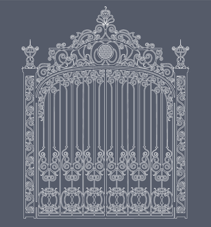 white metal gate with forged ornaments on a gray background