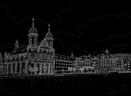 Drawing of the waterfront of Lake Lucerne. Lucerne, Switzerland. Painted with chalk on black