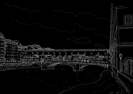 cketch of the old bridge in Florence. Italy. Painted with chalk on black