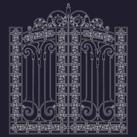 white metal gate with forged ornaments on a black background Vector Illustratie