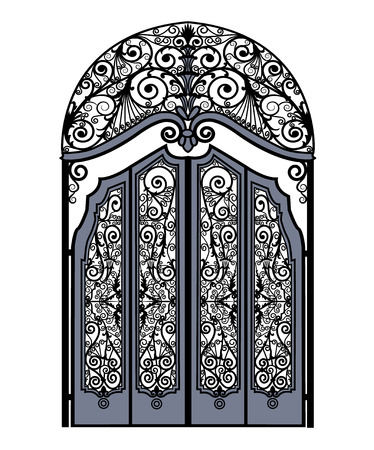 arched metal gates with wrought iron ornaments on a white background Imagens - 110084177