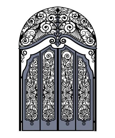 Puertas de metal arqueadas con adornos de hierro forjado sobre un fondo blanco.